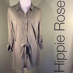 M Hippie Rose green button-down shirt/dress